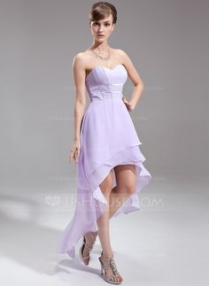 A-Line/Princess Sweetheart Asymmetrical Chiffon Holiday Dress (020016253)