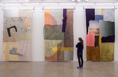 Hanna Roloff. Textile: Window I-III, 2017. Silk, wool, cotton, dyed with natural colours, digital printing, sewn.. 360 x 200 cm each. Photo by: Hanna Roloff.