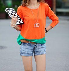 Scoop Neck Color Matching Long Sleeved T-Shirt For Women (PINK,M) | Sammydress.com