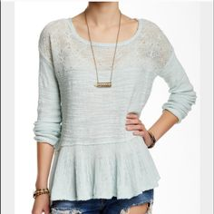 Free People Ruffled Mint Color Top Cozy knit top with an embroidered illusion yoke panel. Long sleeves. Boat neckline . Flutter high low hem. Free People Tops Blouses