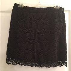 "Black Lace Mini Skirt - Love 21 Black Lace Mini Skirt - Love 21. Side zipper. Lined. NO elastic in the waist. Measurements: waist:  28""   hips 36""   Length 16.5"" Forever 21 Skirts Mini"