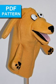 Dog Hand Puppet Pattern with Moving Mouth by TheTucsonPuppetLady With our detailed sewing instructions and video tutorials, even a beginner sewer can create this cutie! Made with fleece and felt, the puppet is easy to sew. The puppet is constructed with both machine and hand sewing. It is soft with no hard edges. Sized for older children and adult hands, but even preschoolers can have fun! Go creative and change the color and ears to make any breed!