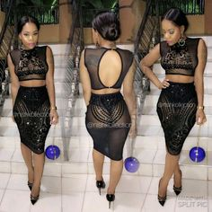 Custom two piece black Nequam Allele short pencil sequin lace skirt with sheer sequin lace top Dinner Outfits Women, Night Outfits, Party Outfits, Asian Fashion, Girl Fashion, Fashion Outfits, Woman Outfits, Fashion Beauty, Dope Swag Outfits