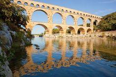 Pont du Gard, France - near Avignon.  Pont du Gard (an ancient Roman Aqueduct bridge from the 1st century AD)