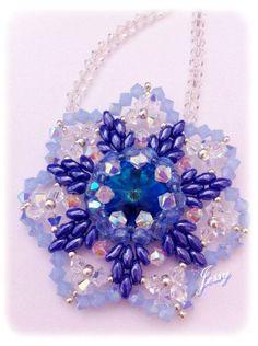 """Tutorial Ciondolo fiore swarovski e superduo """" Non ti scordar di me"""" flower pendant"""