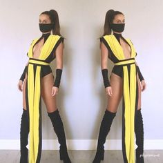 mortal combat costume email nanibikini@ to order includes one piece yellow cover belt face mask wrist covers Ninja Halloween Costume, Unique Halloween Costumes, Halloween Outfits, Costume Ideas, Halloween 6, Women Halloween, Ninja Women Costume, Sexy Diy Costumes, Sexy Costumes For Women