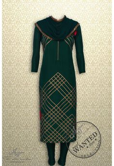 Elegant bottle green suit adorn in criss cross gota and floral embroidery