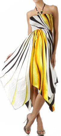 Amazon.com: Swirl Design Satin Feel Beaded Halter Smocked Bodice Handkerchief Hem Dress: Clothing