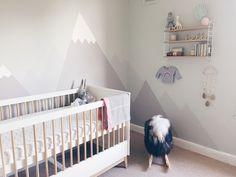pastel mountain mural nursery