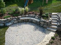 Mixing boulders with concrete pavers and wall stone can give your back yard a unique image.
