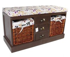 Details About Hallway Storage Bench Wood Drawers Wicker Baskets Bedroom  Entryway Furniture Big
