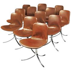 Poul Kjaerholm, Two Sets of Six PK9 Chairs, circa 1960 | From a unique collection of antique and modern chairs at https://www.1stdibs.com/furniture/seating/chairs/