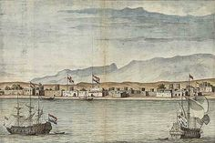 This is a drawing by a Dutch artist working for the Dutch East India Company, who at that time had a trade post in the harbor of Bandar Abbas in Iran, formerly known in the West as Gombroon.