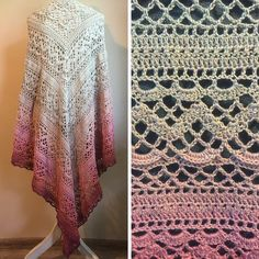 [Free Pattern] Absolutely Gorgeous Triangular Shawl With A Brilliant Design - Knit And Crochet Daily Crochet Shawls And Wraps, Crochet Poncho, Crochet Scarves, Crochet Clothes, Free Crochet, Crochet Lace, Shawl Patterns, Crochet Patterns, Curtain Patterns