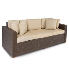 Smooth and soft, sun-resistant wicker sofa in a heavy duty steel frame Washable, removable, and fade-resistant cushions Easy to clean with damp cloth Best ChoiceProducts Outdoor Wicker Patio Furniture Sofa 3 Seater Luxury Comfort Brown Wicker Couch Outdoor Wicker Patio Furniture, Wicker Couch, Sofa Couch, Couch Furniture, Patio Furniture Sets, Patio Chairs, Furniture Design, Furniture Stores, Couches