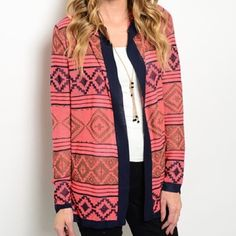 CORAL AND NAVY HOODED CARDIGAN Fabric Content 95% POLYESTER 5%COTTON L&M Boutique Jackets & Coats Capes