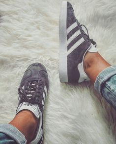Adidas Gazelle in grey shoes sneakers fashion camden white classic lifestyle instagram trainers shop bestseller womens shoes mens shoes www.scorpionshoes... Clothing, Shoes