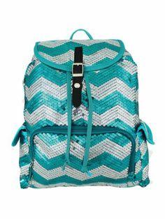 $21.50 Aqua Sequined Chevron Backpack