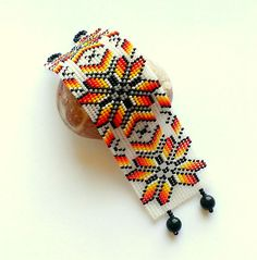 White Beaded Bracelet Huichol Seed Bead Cuff Wide Floral Bracelet Ethnic Beadwoven Flower Cuff Bracelet Herringbone Bracelet Of Beads Bangle