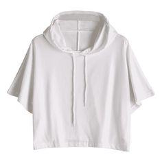 Drawstring Cropped Hoodie White S ($19) ❤ liked on Polyvore featuring tops, hoodies, sweatshirt hoodies, hoodie crop top, white hooded sweatshirt, crop top and hooded pullover