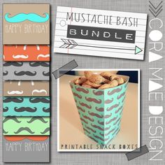 Free mustache bash party snack box printables.