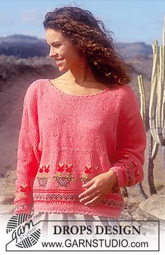 """DROPS 34-13 - DROPS jumper with pattern border in """"Paris. Size S – L. - Free pattern by DROPS Design"""