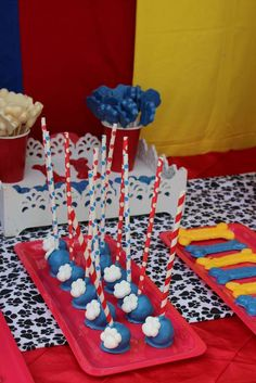 Paw Patrol birthday party cake pops! See more party planning ideas at CatchMyParty.com!