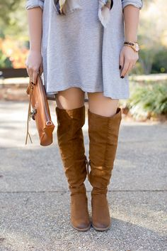 Over the knee boots, winter outfit idea