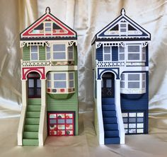 Check out both of Cynde's Victorian Houses side by side! They are marvelous, standing tall! From the PARKSIDE ROW SVG KIT. The details Mary put into designing this file is super amazing. The architectural features are superb!