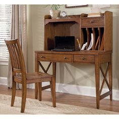 Liberty Furniture Hearthstone Writing Desk with Optional Hutch - Rustic Oak - LFI2117