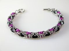 Chainmaille Byzantine: Bracelet - Silver, Pink and Black