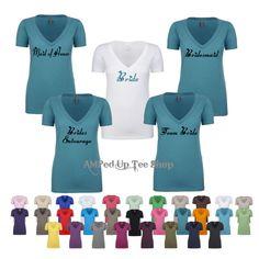 Set of 6 Bridesmaid Vneck Shortsleeve Shirts by AMPedUpTeeShop