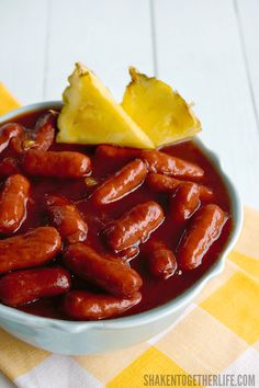 Crock Pot Hawaiian Lit'l Smokies - just 3 ingredients and a few hours in the crock pot - easy Summer entertaining at its finest!