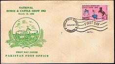 Pakistan Stamps 1963 National Horse and Cattle Show First Day Cover SG 183 Scott 175 Other Asian and British Commonwealth Stamps HERE!