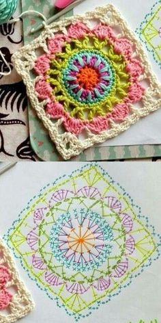 67 Ideas crochet granny square pattern ideas colour for 2019 Crochet Mandala Pattern, Crochet Beanie Pattern, Crochet Motifs, Granny Square Crochet Pattern, Crochet Blocks, Crochet Diagram, Crochet Squares, Crochet Chart, Love Crochet