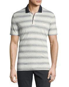 Linen-Cotton Blend Nautical Striped Polo Shirt with Gancini