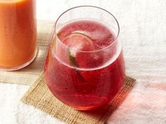 Cranberry-Lime Rose Spritzer from Food Network magazine. 5 easy ingredients: Rose wine, no-sugar added cranberry juice, lime, sugar, seltzer.  Prepare, child, serve!