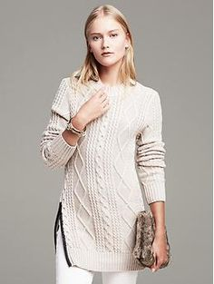 Faux-Leather Trim Cable-Knit Pullover | Banana Republic Easy enough to make with any sort of tunic sweater?