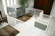 PVC Dog Crates, Kennels, Puppy Play Pens, Whelping Boxes Cages by Jeroen En Franciska Jonkman Dog Playpen Indoor, Puppy Playpen, Playpen For Dogs, Indoor Dog Area, Indoor Play, Indoor Outdoor, Rat Terrier, Canis, Puppy Pens