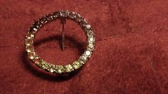 vintage sterling silver circle pin with 25 cut stones 6.7tw by NewYorkJunk on Etsy