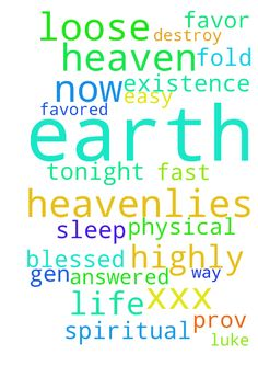 Please -   I sleep well tonight and my prayers answered fast and easy loose on earth heaven and heavenlies �let your words be life to my soul grace to my neck Prov.3:2 x7x7x7 loose Gen.24:35 x7x7x7 let me greatly blessed on earth in heaven heavenlies now loose Luke 1 : 28 x7x7x7 I'm highly highly favored on earth and in the heavenlies heaven no one nothing can block steal kill destroy any of my favor life now into existence 100 fold all the way from the spiritual into the physical through…