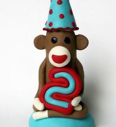 Custom Cake Topper Sock Monkey Birthday Party 5 inch by SpiritMama, $46.00