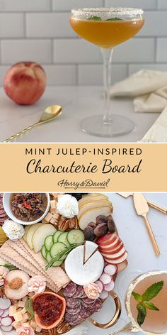 Mix up your charcuterie game with this white peach mint julep inspired charcuterie board.