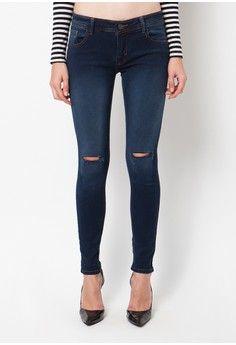 Wanita > Pakaian > Bawahan > Jeans > Aster Ladies Soft Jeans Fit Navy Green Spray WhiteTattered 1 - stretch. > Nuber