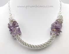 Kumihimo necklace made with amethyst, pearls and silver beads