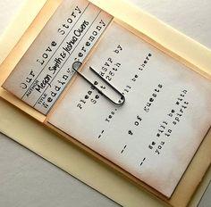 Library wedding invitation suite, pocket, rsvp, card, vintage, typewriter font, NEW item. $130.00, via Etsy.