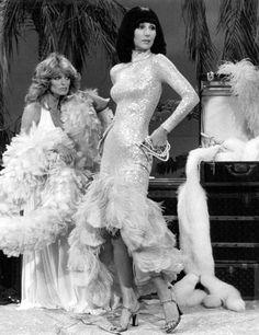 Farrah Fawcett & Cher, c. 1970's.