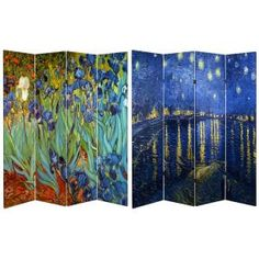 Oriental Furniture Van Gogh Fine Art Double Sided Room Divider - Starry Night and Irises Van Gogh, Studio Apartments, Studio Spaces, 4 Panel Room Divider, Divider Walls, Urban Outfitters, Folding Room Dividers, Interior Design Elements, Decorative Screens