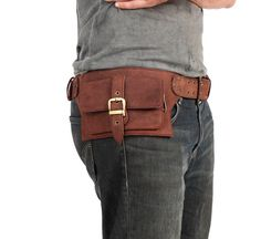 2 Pocket men's leather belt bag in brown, belt pouch, hip bag, utility belt, bum bag. $116.00, via Etsy.