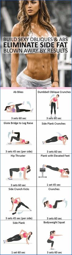 Best Exercise to Eliminate Side Fat and Build Sexy Obliques & Abs! You'll be Blown Away by These Results! How to get rid of side fat. Workout at home. Fitness Workouts, At Home Workouts, Fitness Tips, Core Workouts, Ab Exercises, Fitness Gear, Exercises For Side Fat, Killer Ab Workouts, Exercise Workouts